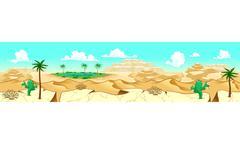 Desert with oasis Stock Illustration