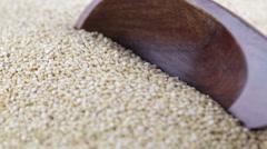 Whit Quinoa Grain Scoop Stock Footage