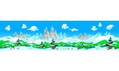 Stock Illustration of Landscape with snow and mountains.