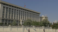 Romanian flag waving on the Ministry of National Defence building in Bucharest Stock Footage