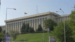The Romanian flag on the Ministry of National Defence building in Bucharest Stock Footage