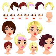 Stock Illustration of Fashion female avatars.