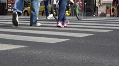 Crowded city, crowd people walking on crosswalk - Budapest, Hungary Stock Footage