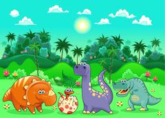Stock Illustration of Funny dinosaurs in the forest.
