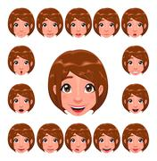 Stock Illustration of Girl expressions with lip sync