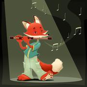 Musician Fox. - stock illustration