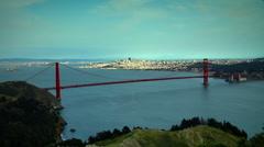Golden Gate Bridge Wide Headlands Stock Footage