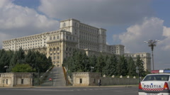Side view of the Palace of Parliament in Bucharest Stock Footage