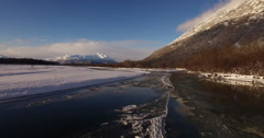 Winter Scenic Aerial Chilkat Alaska Reversing Flight 2K Stock Footage