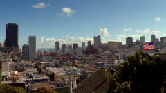 Pan to Downtown San Francisco from Telegraph Hill Stock Footage