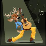 Musician Deer. - stock illustration