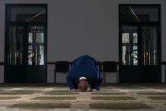 Young Business Man Muslim Praying - stock photo