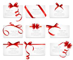 Card with Red Ribbon and Bow Set. Vector illustration - stock illustration