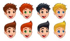 Faces of boys. Stock Illustration