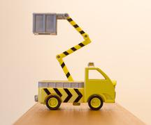 Old toy emergency truck isolated - stock photo