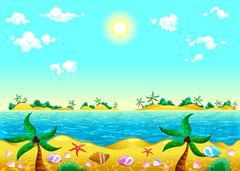 Seashore and ocean. Stock Illustration
