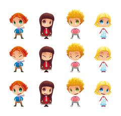 Characters with normal - blinked eyes - open mouth positions. Stock Illustration