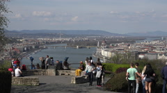 Budapest panoramic view, cityscape - Danube river and castle hill  Stock Footage