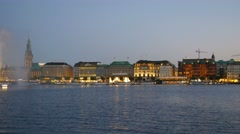 The Alster lake and city center of Hamburg, Germany. Panning shot Stock Footage