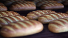 Long loaf at bakery on the production line Stock Footage