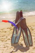 Summer ,Beach ,Travel, Holiday accessories for snorkeling , fins, mask and sn - stock photo