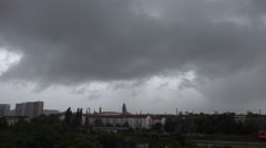 4K Aerial view dangerous stormy cloud Dresden cityscape local train pass Germany Stock Footage