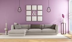Contemporary living room with lilla wall - stock illustration
