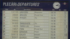 Departures board at the Bucharest North Railway Station Stock Footage