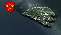 Hordaland with Coat of arms animation map Stock Footage