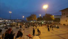 Turkish people in Eminonu square at dusk in Istanbul Turkey (Editorial) Stock Footage