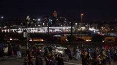 Stock Video Footage of Galata Bridge in Istanbul Turkey at night (Editorial)