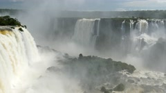Panning shot of Iguassu Falls - stock footage