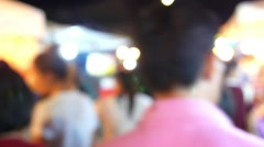 Crowd of People Moving at City Night Street. Defocused Stock Footage