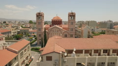 Aerial shot of Church of Panagia in Limassol, Cyprus Stock Footage