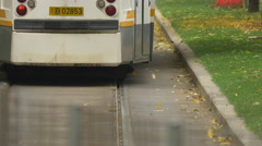 Close up view of a tram moving on the tram lines in Bucharest Stock Footage