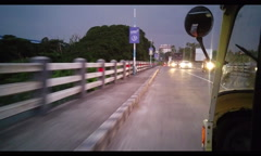 Stock Video Footage of Out the side of a Rickshaw at dusk