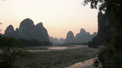 Time lapse of Li river sunset Stock Footage
