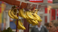 Bananas at a street stall in Bucharest Stock Footage