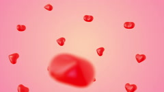 Flying red heart on gradient background Stock Footage