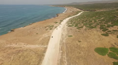 Aerial shot of a quad bike tour in Cyprus Stock Footage