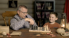 Chess Battle with Grandpa Stock Footage