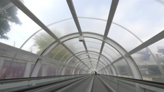 A covered moving walkway in Bucharest Stock Footage