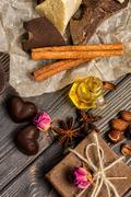 Homemade chocolate candys, cocoa, cocoa butter Stock Photos
