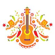 Mexia, guitar and various elements - stock illustration