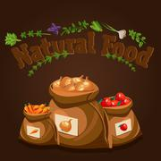 Natural food, farm products banner, bags with vegetables - stock illustration