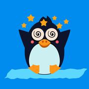 Penguin Feeling Dizzy. Vector Illustration - stock illustration