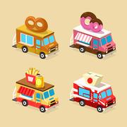 Food Truck Designs. Set of Vector Icons Stock Illustration