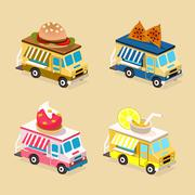 Food Truck Designs. Collection of Vector Icons Stock Illustration