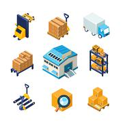 Warehouse and Logistics Equipment Icon Set. Flat Vector Illustration Stock Illustration