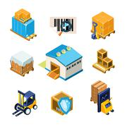 Warehouse and Logistics Equipment Icon Set. Vector Illustration - stock illustration